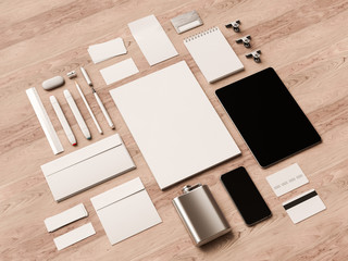 Top view office corporate mockup design. 3D illustration
