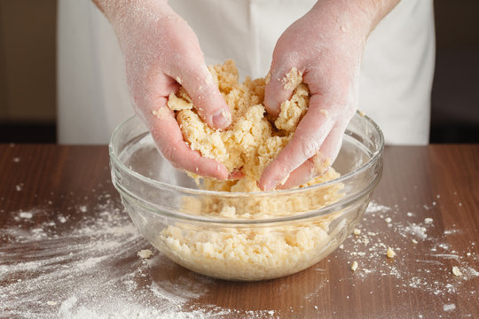 Making of shortcrust pastry for Almond tart with raspberries and