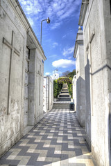 Graveyard/cemetery hallway, in a cemetery in the city of Guayaquil, Ecuador