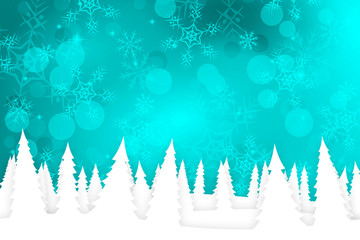 Teal Christmas Background with Snow Covered Trees
