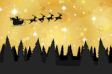 Santa Claus and Reindeer Flying Over Christmas Trees - Christmas Background