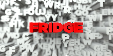 FRIDGE -  Red text on typography background - 3D rendered royalty free stock image. This image can be used for an online website banner ad or a print postcard.