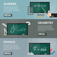 Vector flat horizontal banners of algebra, geometry and physics for websites. Business concept of math science, education and studying. Set of school equipment.