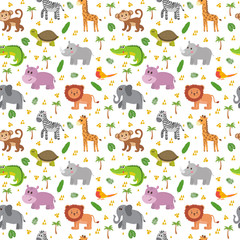 African animals seamless pattern. Cute cartoon childish animals.