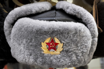 Grey Russian Soviet Red Army USSR winter fur hat called Ushanka