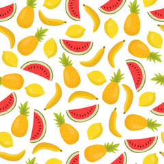 Seamless pattern with bananas, pineapples and lemons. Cute tropi