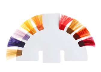 Palette of different colors to hair dye on white background