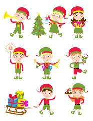 Elf helpers vector illustration