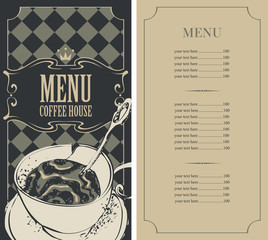 menu for a coffee house with price list and a cup of coffee