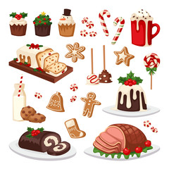 Christmas food vector set.