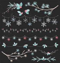 Christmas Party Lights and Garlands Vintage Chalk Drawing Vector Set