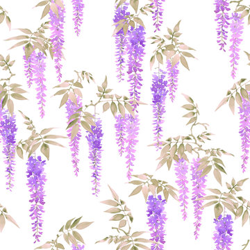 Seamless watercolor pattern, clusters of light violet flowers of wisteria on white background.
