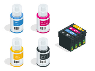 Isometric CMYK set of cartridges for ink jet printer and color chart. Empty refillable cartridges for colour inkjet printer isolated on white background.