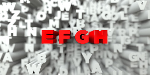 E F G H -  Red text on typography background - 3D rendered royalty free stock image. This image can be used for an online website banner ad or a print postcard.