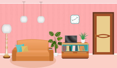 Bright colors living room interior with furniture.