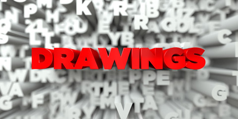 DRAWINGS -  Red text on typography background - 3D rendered royalty free stock image. This image can be used for an online website banner ad or a print postcard.