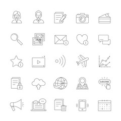 Blog simple outline design icon set (gray).