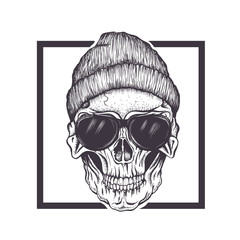 Hipster skull sunglasses and hat