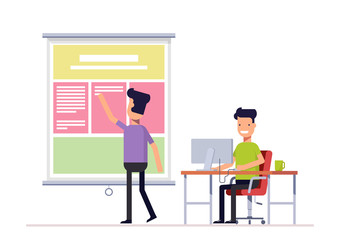 Programmer and designer working in office on the web site or landing page. Workers team Well coordinated work of two people. Vector, illustration EPS10.