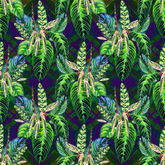 Seamless tropical floral pattern. Hand painted watercolor exotic calathea leafs on geometric background, diamond layout. Textile design.