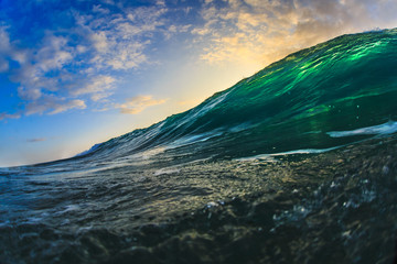 Shining Translucent Ocean Background Shorebreak Wave for Surfing