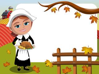 Thanksgiving day background pilgrim woman roast turkey horizontal frame
