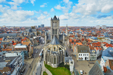 Aerial view on the center of Ghent with Saint Nicholas Church in Belgium