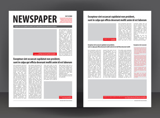 Vector empty newspaper print template design with red and black elements