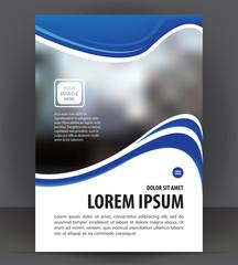 Blue flyer template, brochure magazine cover layout print design