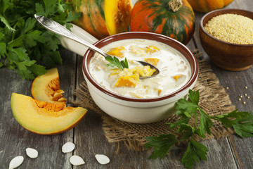 Milk soup with pumpkin and millet