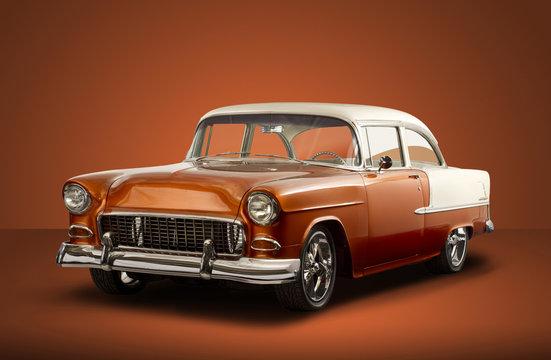 Vintage 1955 Chevrolet Bel Air - Orange Background