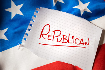 Republican on notepaper and the US flag