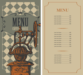 menu for a coffee house with price list and a coffee mill