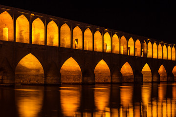 Night view of Si-o-se bridge in Esfahan, Iran
