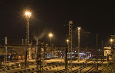 Tracks and lights in Veseli nad Luznici station