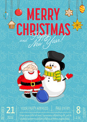 Christmas party promo poster with date and time. Cheerful Santa and snowman, toys, gingerbread cookie cartoon vector on blue background. Merry christmas, Happy New Year greetings. Xmas fun celebrating