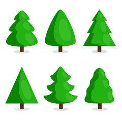 Green Christmas tree set vector illustration in cartoon style. Merry Christmas and Happy New Year collection isolated on white background.