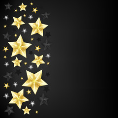 Christmas background with border from gold, black and white star