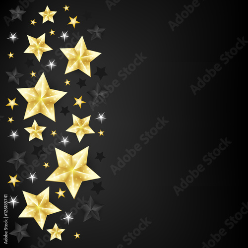 Christmas Background With Border From Gold Black And White Star