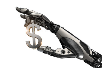 Mechanical robotic arm holding currency symbol of US dollar with