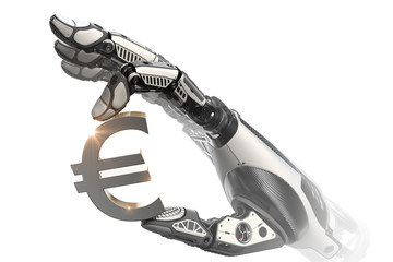Mechanical robotic arm holding currency symbol of euro with fing