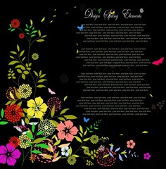 invitation card with colorful flower on black background