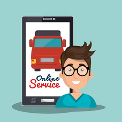 online service man truck transport vector illustration eps 10