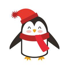 penguin winter clothes icon vector illustration design