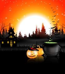 Halloween night background with pumpkin and cauldron