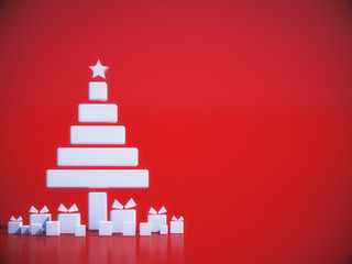 Minimal Christmas abstract background.3D rendering.