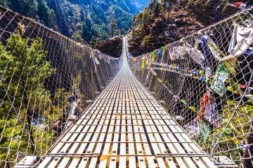 Dughla Waterfall Suspension Bridge in Nepal