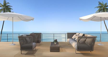 3d rendering vintage beach armchair on wood terrace near sea in summer with umbrella