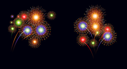 Brightly Colorful Fireworks  isolated on black background