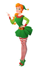 Pinup vector girl in Christmas elf costume finger pointing up.